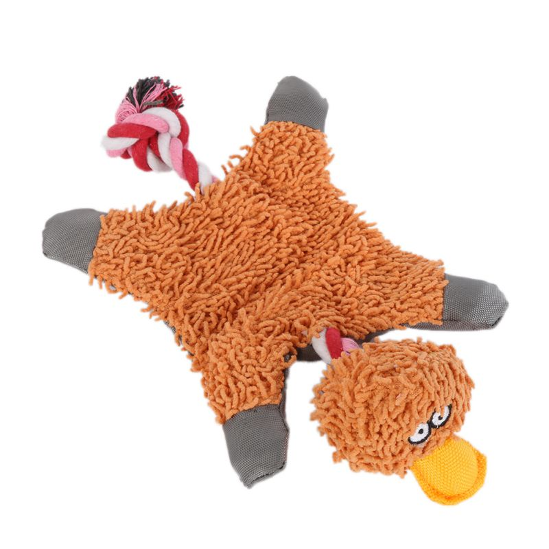32*19 см ПЭТ питания Милый папа утка плюшевые игрушка собака с веревкой
