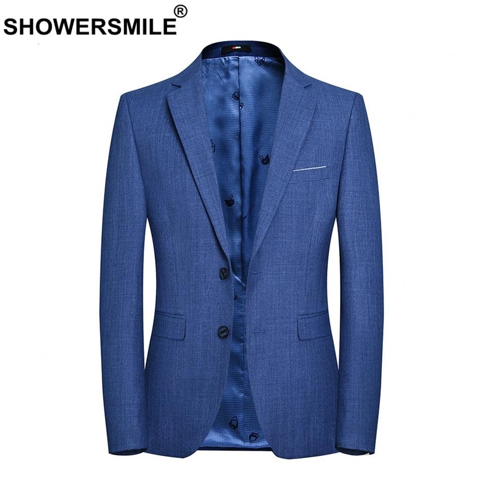 SHOWERSMILE Smart повседневный мужской блейзер осень темно-костюмы синий Slim Fit сплошной плюс Размеры 4xl бренд мужской пиджак 2019 Костюмы