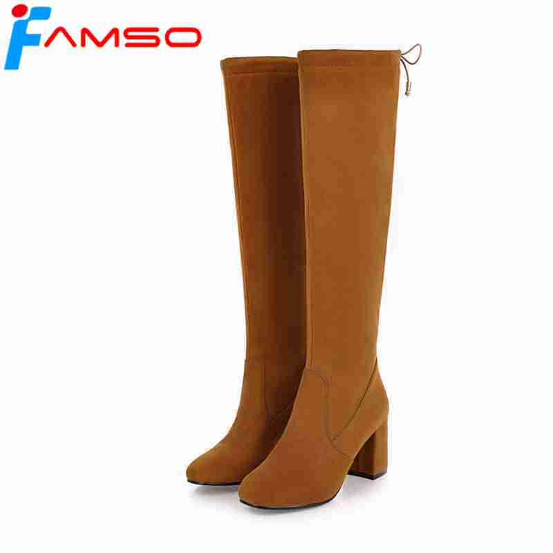 FAMSO 2019 Shoes Big Size 34 43 Black Green Autumn Knee High Boots Red Designer Wedding Shoes Winter Women Motorcycle Boots