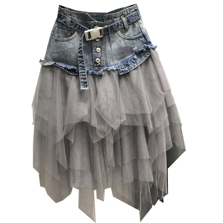 Spring Summer Fashion Women High Waist Tassel Mesh Patchwork Grey Denim Skirt Irregular Jeans Skirts