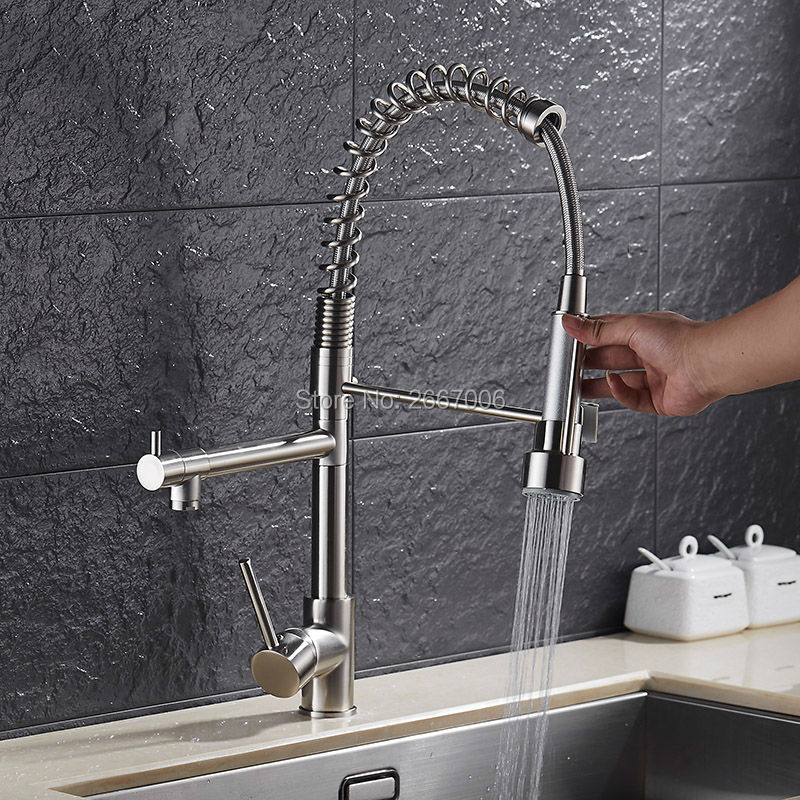 Free shipping Low Price Promotion Brushed Nickle Solid Brass Spring Kitchen Faucet Two Spouts Pull Deck Mount Mixer Faucet ZR659 free shipping low price promotion brushed nickle solid brass spring kitchen faucet two spouts pull deck mount mixer faucet zr659