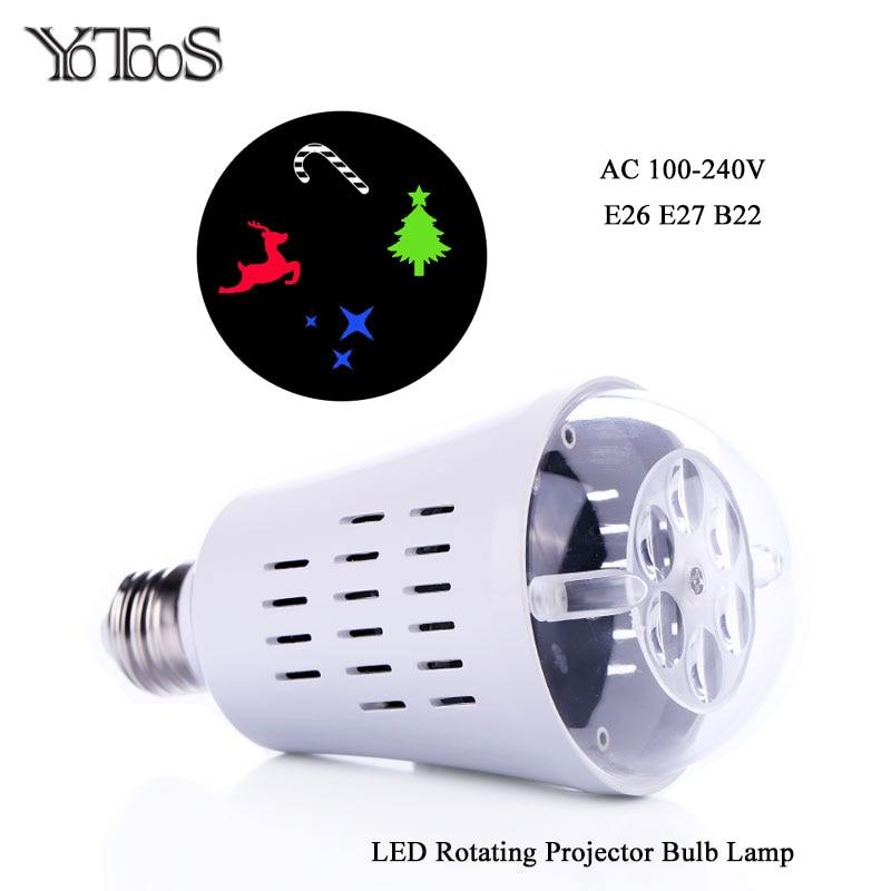 E27 E26 B22 Led Projector Bulb Auto Rotate Night Light Rgbw