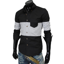 Brand New Men s Patchwork Casual Shirt Social Shirt Full Sleeve Turn Down Collar