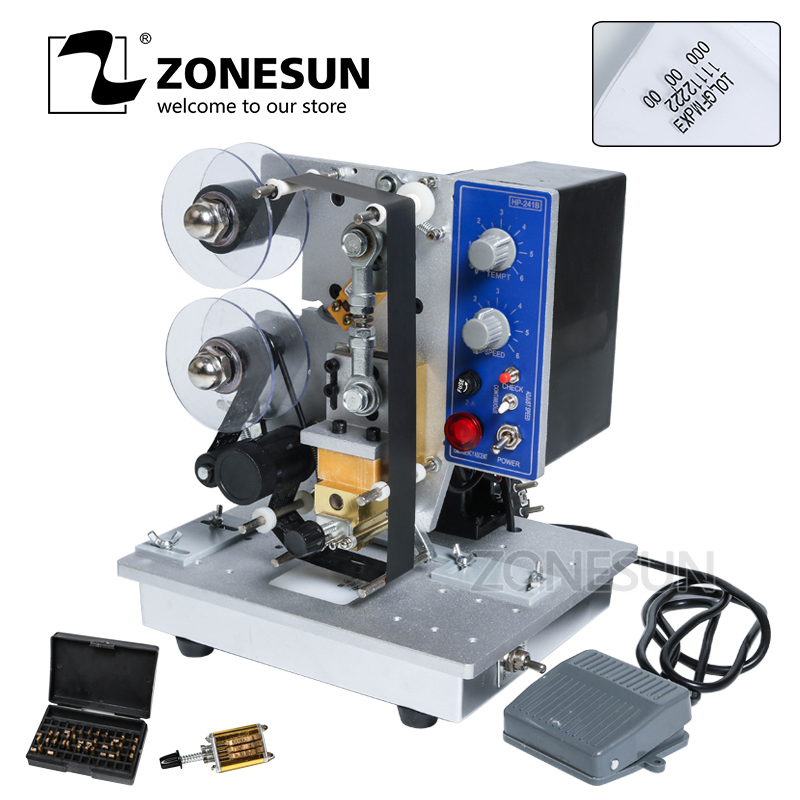ZONESUN Semi automatic Hot Stamp Coding Machine Ribbon Date Character, Hot Code Printer HP-241 Ribbon Date Coding Machine zonesun rolling ribbon printer electric hot thermal printing machine number turning expiration code date number printer