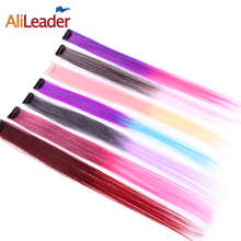 Alileader 20 Colors Ombre Synthetic Clip In Hair Extension 20″ Brown Blonde Orange One Clip Hair Piece For Girl 50Cm Long Hair