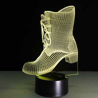 Boots Shape LED Table Light 3D Illusion Lamp New Year Gift Color Change Night Light Kids