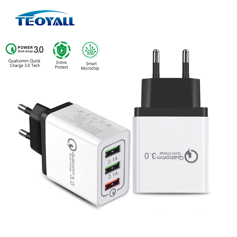 TeoYall 3 Ports <font><b>5V</b></font> 2.4 QC 3.0 Fast Charger for iPhone Cable Quick Charger Micro <font><b>USB</b></font> Cable EU/US Plus for Lightning Cable Type C image