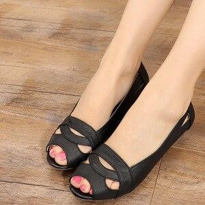 Image 2 - OUKAHUI Echtem Leder Elegante Sandalen Frauen Sommer Schuhe Slip On Sexy Peep Toe Hohl Damen Sandalen Keile 4cm abdeckung Ferse 43