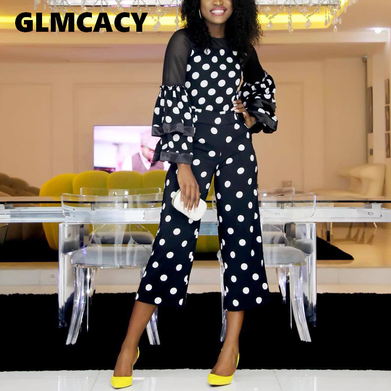 Women Mesh Insert Polka Dot   Jumpsuits   Casual Ruffles Flare Sleeve Bodycon Overalls Summer Elegant Party   Jumpsuit