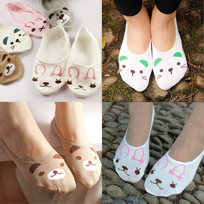 Cute Spring Socks Cat Rabbit Bear Women Summer Socks Animal Prints Funny Low Cut Ankle Socks For Maternity Sock