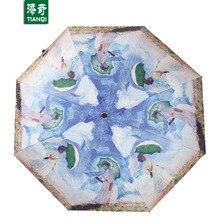 96 CM * 8 ribs 3D Printing Cartoon Women Umbrella Portable Sunny Rainy 3 Folding Umbrellas
