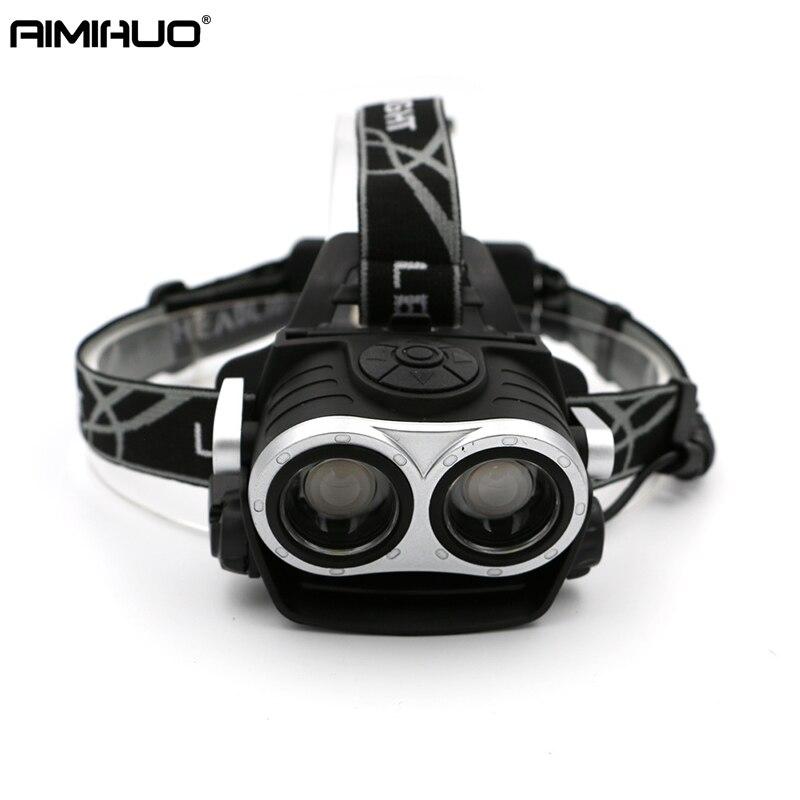 AIMIHUO 2 LED Headlamp XML T6 4000LM Headlight 3 Mode Flashlight Head Lights with USB Charger Hunting Fishing Camping Head lamp