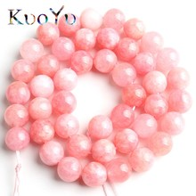 Natural Pink Angelite Stone Beads Round Loose Spacer 15Strand/Inch 4/6/8/10mm For Jewelry Making DIY Bracelets Necklace