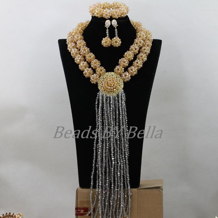 Nigerian Wedding African Beads Jewelry Set Crystal Beads Handmade Balls Choker Necklace Set Bridal Jewelry Free Shipping ABF761 цена