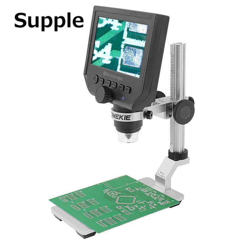 Supple Digital Microscope 4.3hd OLED 3.6mp 600x Magnifier G600 Portable LCD With Aluminum Alloy Stent repair for PCB board 600x portable 4 3inch hd oled display lcd digital video microscope magnifying glass with 8 led light