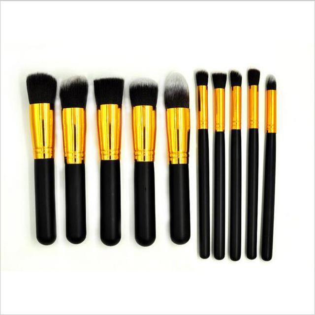 10 peças de um conjuntos de 17 cm Superior Profissional de pincéis de maquiagem Suave Cosméticos nu Make up Jogo de Escova de Higiene Pessoal da Mulher Kit