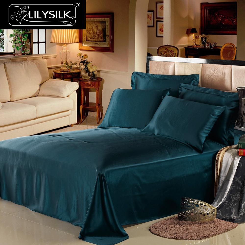 LilySilk Bedding Set 3pcs 100 Mulberry Silk Luxury Queen King Flat Sheet Oxford Pillowcases 19 momme