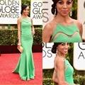 Shaun Robinson Verde Satén Backless Atractivos Vestidos de La Celebridad 2015 72o Golden Globe Sirena vestido de Noche Elegante vestido de festa