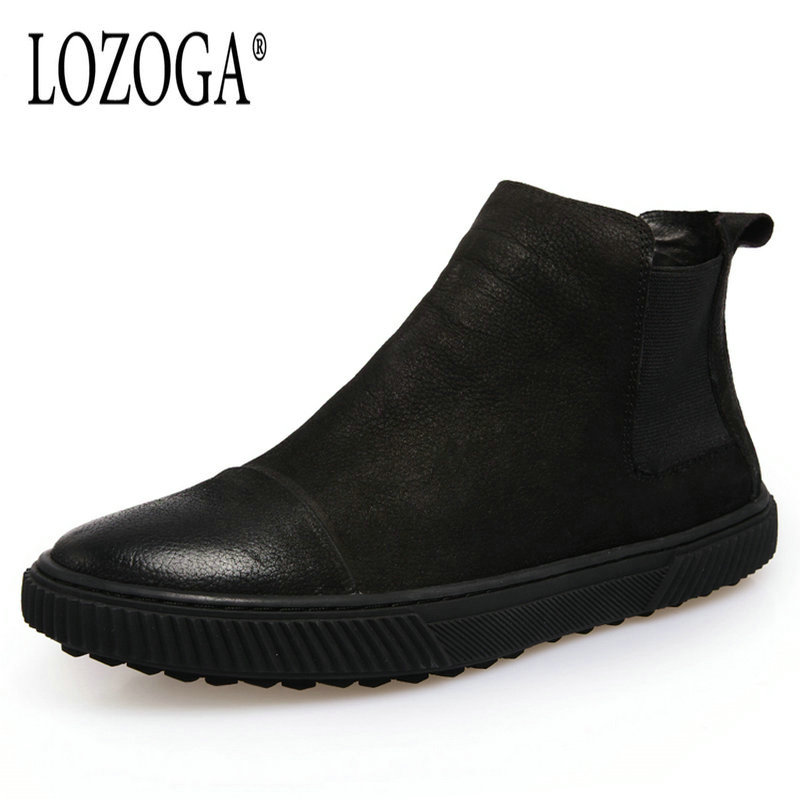 Lozoga 2018 New Men Boots Hotsell Autumn Winter Fashion Chelsea Boots Suede Leather Black Boots Ankle Slip On Retro Casual Boots martine women ankle boots flat with chelsea boots for ladies spring and autumn female suede leather slip on fashion boots