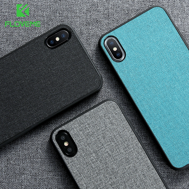 detailed look a45e1 a27fb US $2.99 40% OFF|FLOVEME Classic Cloth Case For iPhone XS Max XR Luxury  Soft Silicone Phone Cases For iPhone X 7 8 Plus 6 6s Fabric Cover Coque -in  ...