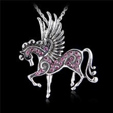 New mix color Crystal Pegasus Fly Horse Pendant with Ribbon Rope Lobster Clasp Necklace Costume Jewelry