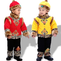 3PCS Boy Kids Chinese FU Traditional Clothes Red Yellow Tang Suit Chinese style Jackets NEW YEAR'S EVE Outfit for 6 36M Baby Boy