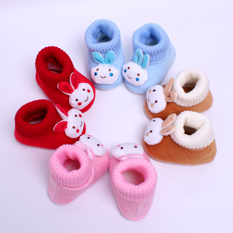 3D Cartoon Rabbit Slip-on Baby Sko, Cute Flock Baby Pige Sko, Soft Sole Komfortable First Walkers Piger Sko Bedste Choice