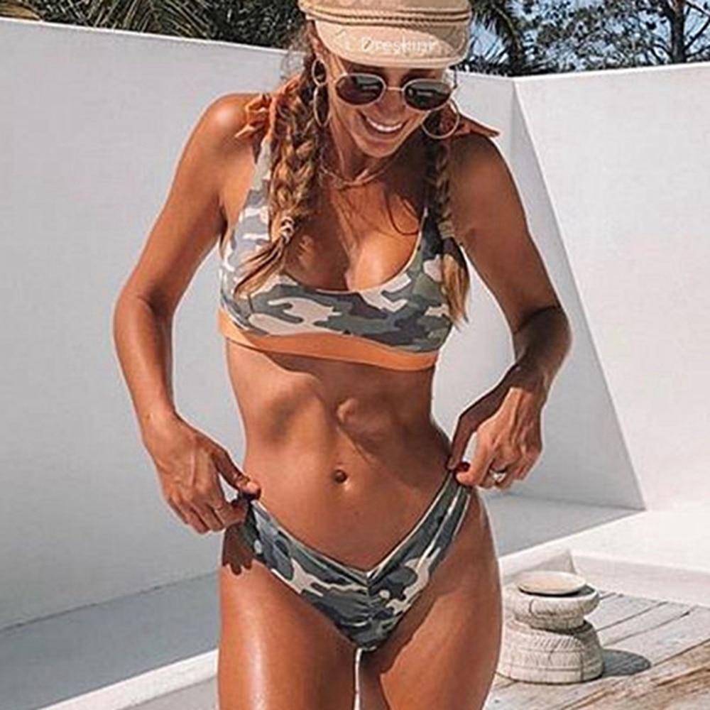 Women Bikini Reversible Camouflage Swimsuit Knotted Swimwear Strappy Bikini Push Up High Leg Swimsuit Camo Bikinis Female