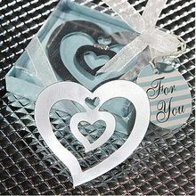 цена на 100PCS/LOT wedding favor party gift of double heart shaped bookmark, with tassel festival Christmas gift