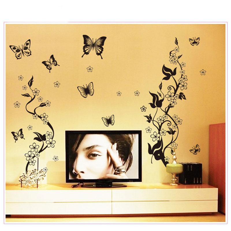 Butterflies Wall Stickers Flower Livingroom Decoration DIY Vinyl ...