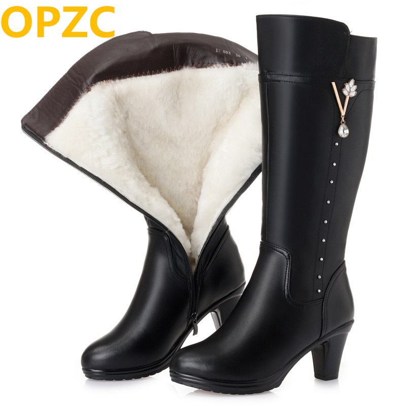 Women's winter boots 2018 new genuine leather female boots, size 43 warm high heeled wool boots women, trend Martin boots women