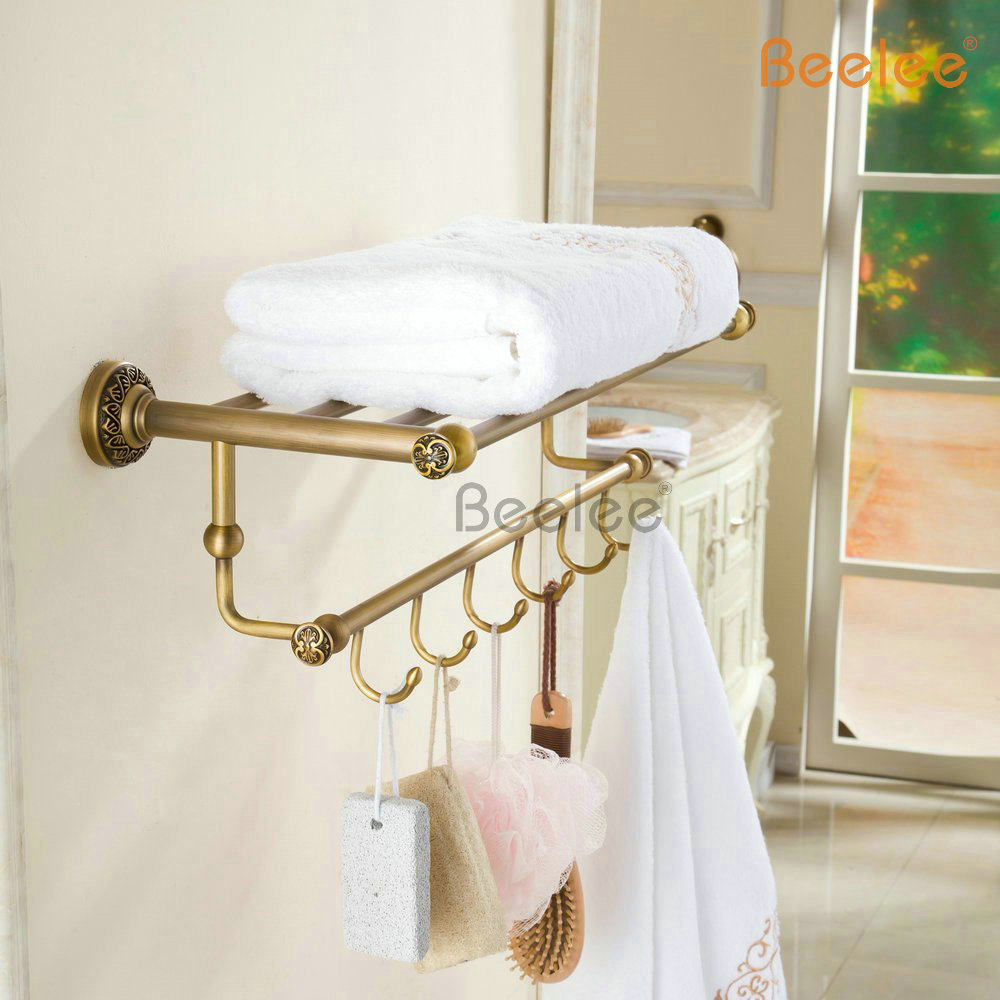 Beelee BL7503A Wholesale and Retail Antique Bathroom Shelves Towel Rack with 6 Hooks Wall Mounted Towel Bars with Robe hook цена и фото