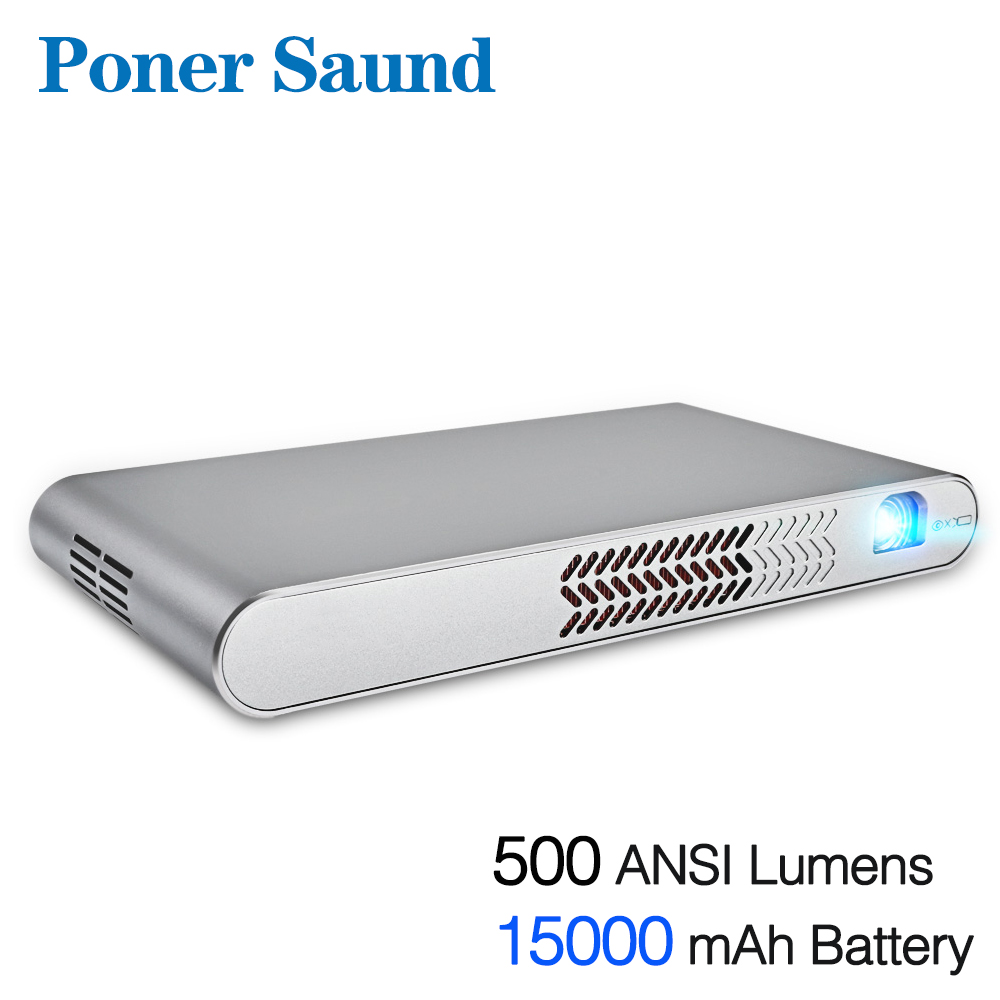 Poner Saund DLP-N1 Mini Portable Projector Battery 15000MAh Android WIFI Full 3D Bluetooth Home Theater HD 1080P HDMI USB SD poner saund 4800 lumens wifi 3d home theater 1280x800 pc multimedia 1080p hd video hdmi usb portable lcd led projector proyector
