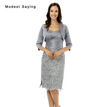 New Grey Lace Cover Mother of the Bride Dresses 2017 with 3 4 Sleeve Jackets Knee