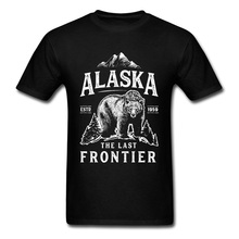 Mountain Forest Bear Printed On Tshirt Alaska The Last Frontier Letter Custom Tops & Tees Newest O Neck Tee-Shirt For Men