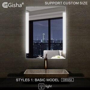 Gisha espelho inteligente led espelho de banheiro espelho de parede banheiro banheiro anti-nevoeiro espelho com tela de toque bluetooth g8065