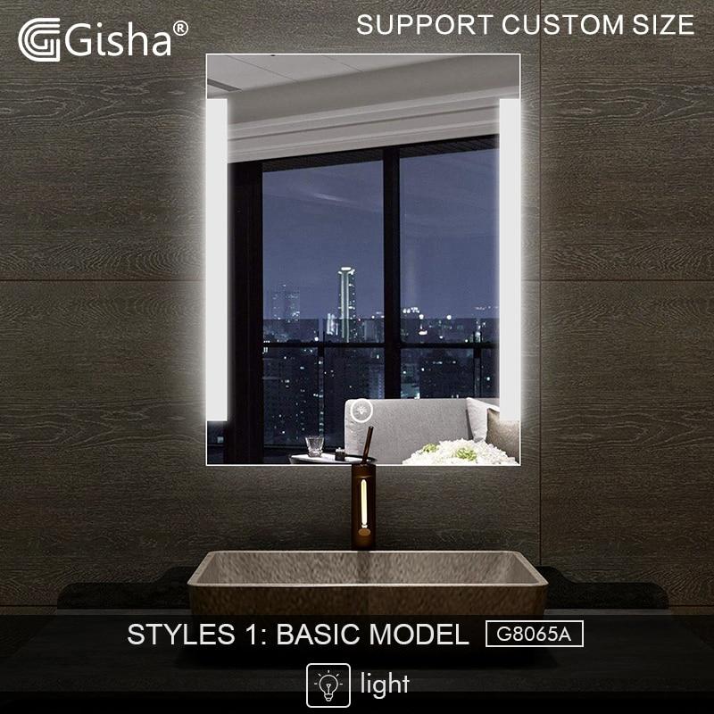 Gueixa Inteligente Espelho LEVOU Espelho Do Banheiro Espelho Do Banheiro Parede Banheiro Banheiro Anti-fog Espelho Com Bluetooth Tela de Toque G8065