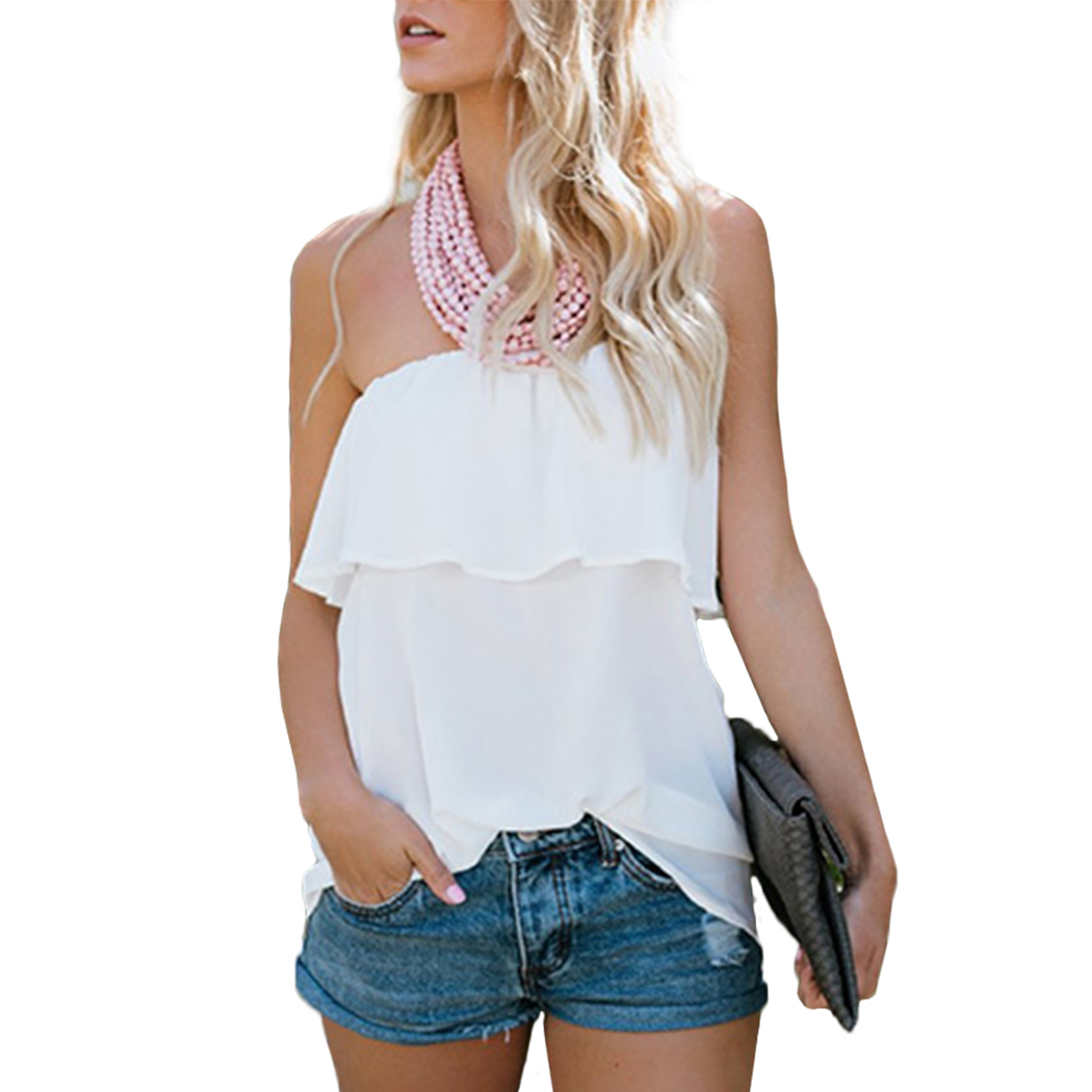 Sexy Off Shouler Womens Summer Chiffon Shirts Frill Tops Mujer Sleeveless Female Ruffles Slash Neck Blouses Chemisier Femme