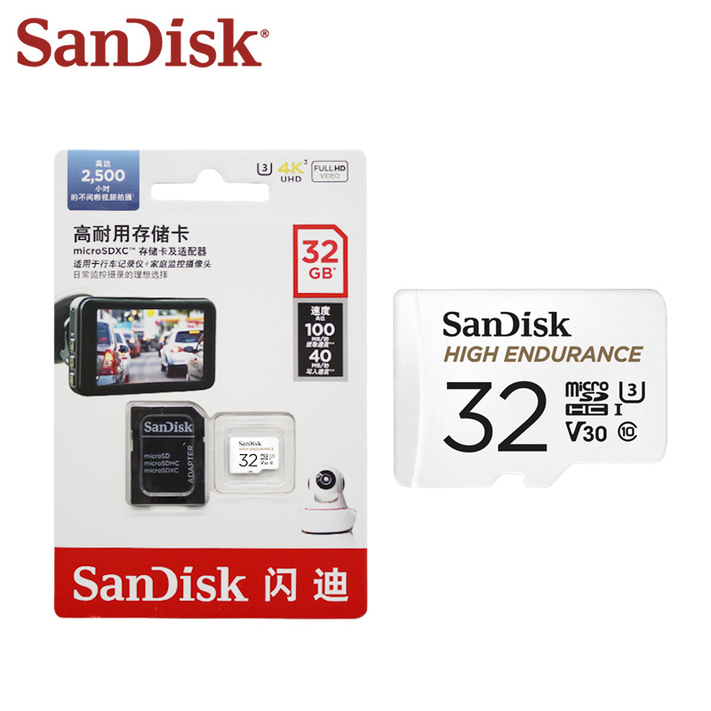 100% оригинальная карта памяти SanDisk высокой производительности для видеомониторинга 64 ГБ 32 ГБ класс 10 U3 V30 высокая скорость 100 м/с Micro SD карта