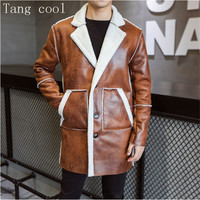 Tang cool 2019 Winter Casual Thick Warm Trench Coats Men Fur Collar Suede Leather Motorcycle Mens Faux Fur Coat