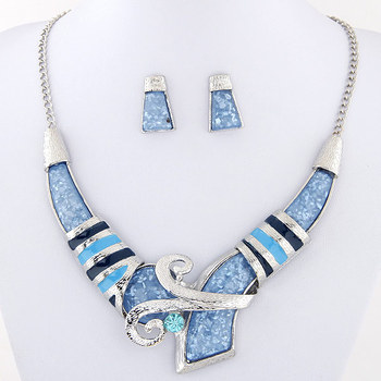 African Jewelry Set Crystal Pendant Statement Necklace Set 1