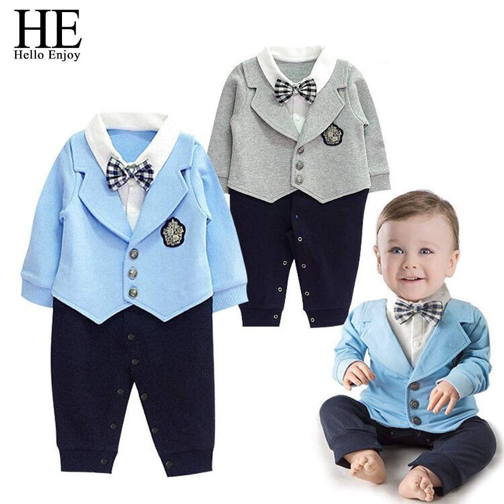 HE Hello Enjoy baby rompers Autumn winter 2018 casual newborn baby boys clothes gentleman Bow tie Long sleeve infant jumpsuits mother nest 3sets lot wholesale autumn toddle girl long sleeve baby clothing one piece boys baby pajamas infant clothes rompers