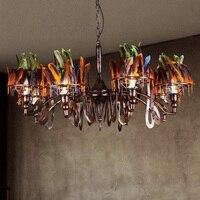 IWHD Творческий перо Hanglamp Lampen Лофт Стиль Винтаж промышленные подвесные светильники Светодиодный Ретро лампа железный светильник Suspendu