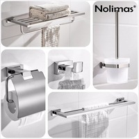 SUS304 Stainless Steel Bathroom Hardware Set Chrome Mirror Polished Toilet Paper Holder Robe Hook Towel Bar Bathroom Accessories