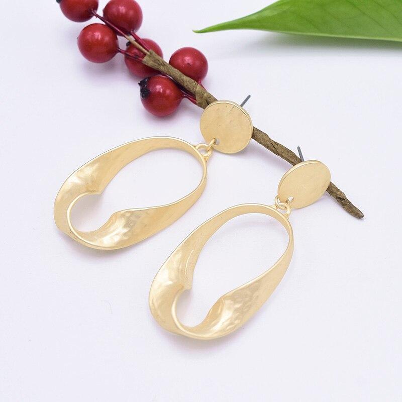 Carvejewl drop dangle earrings irregular oval metal disc earrings for women jewelry matte gold silver plating fashion earrings in Drop Earrings from Jewelry Accessories