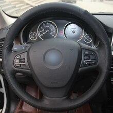 цены на Hand sewing custom Black Leather Black Suede Car Steering Wheel Cover for BMW F25 X3 2011-2017 F15 X5 2014  в интернет-магазинах