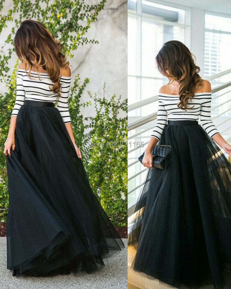 Aliexpress.com : Buy Free Shipping Black Tulle Long Skirts High ...