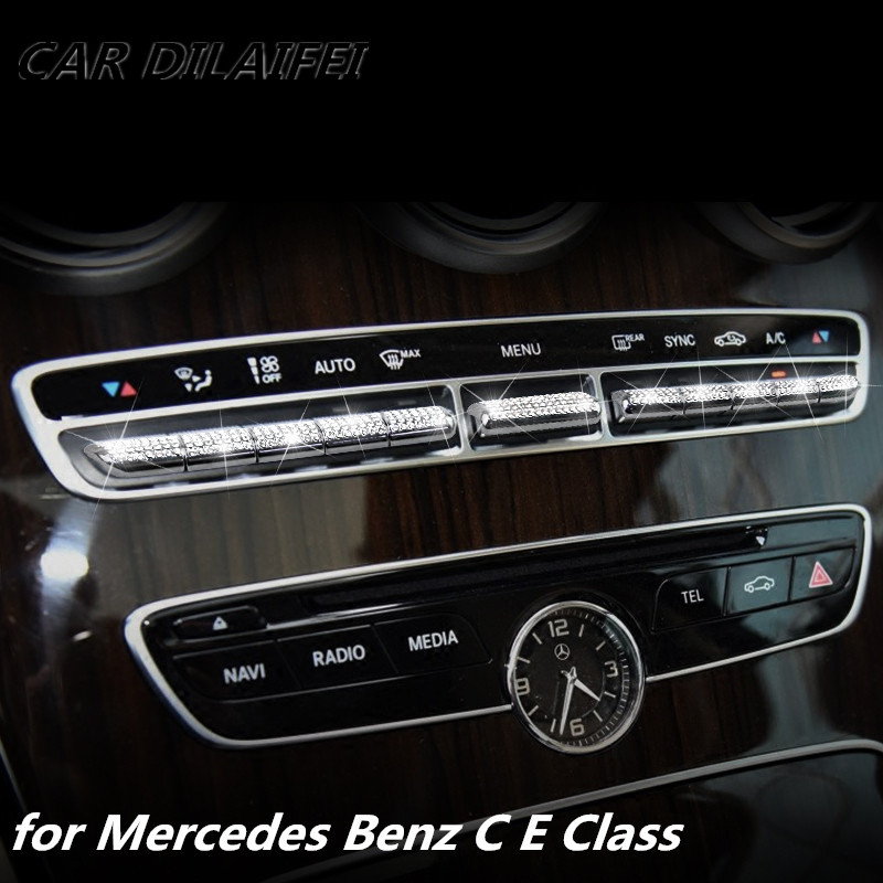 Car Center console control button knob cover sticker For Mercedes Benz C class w205 GLC Class E Class W213