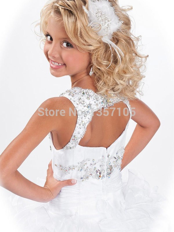 60852dd9631 Hot Selling White Ball Gown Sweetheart Sleeveless Beading Floor-length  Organza Flower Girl Dresses Keyhole Back Pageant Dress