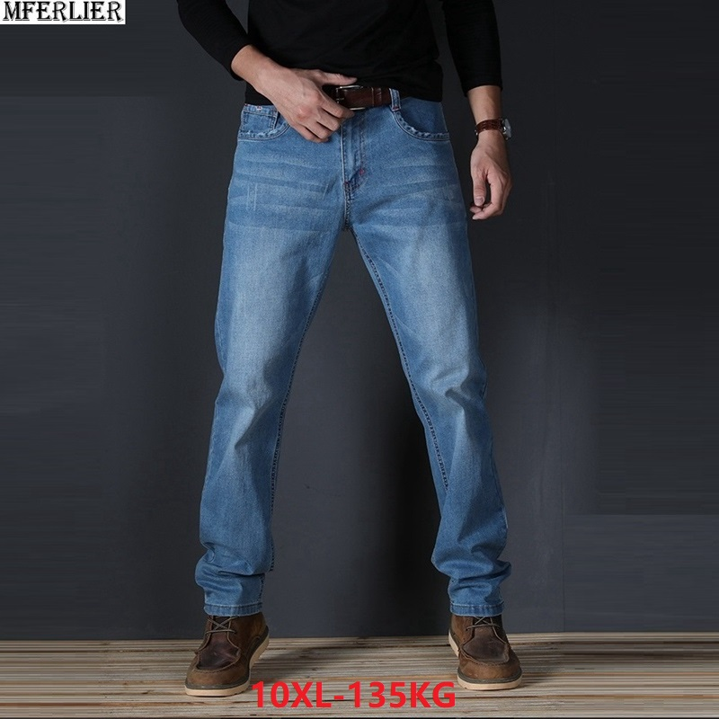 MFERLIER men   jeans   simple plus size big 7XL 8XL 9XL 10XL large   jeans   scratched casual 44 46 48 Elasticity Straight work pants 42
